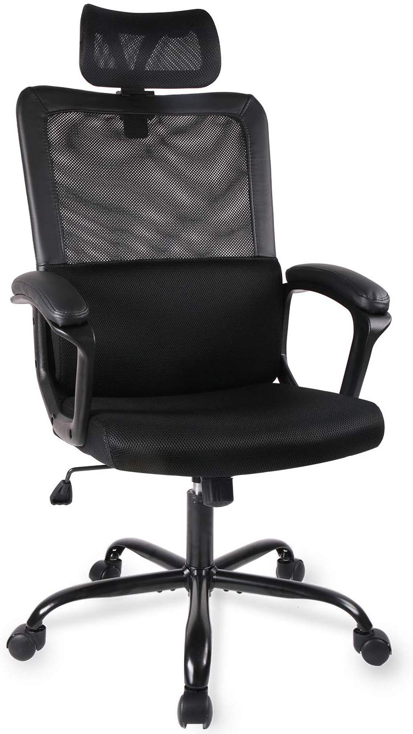 Duramount Ergonomic Adjustable Office Chair with Lumbar Support and Rollerblade Wheels- High Back with Breathable Mesh-Thick Seat Cushion