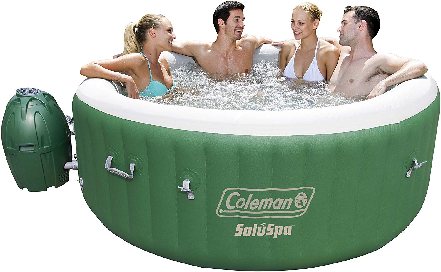 Coleman saluspa inflatable hot tub spa, green and white