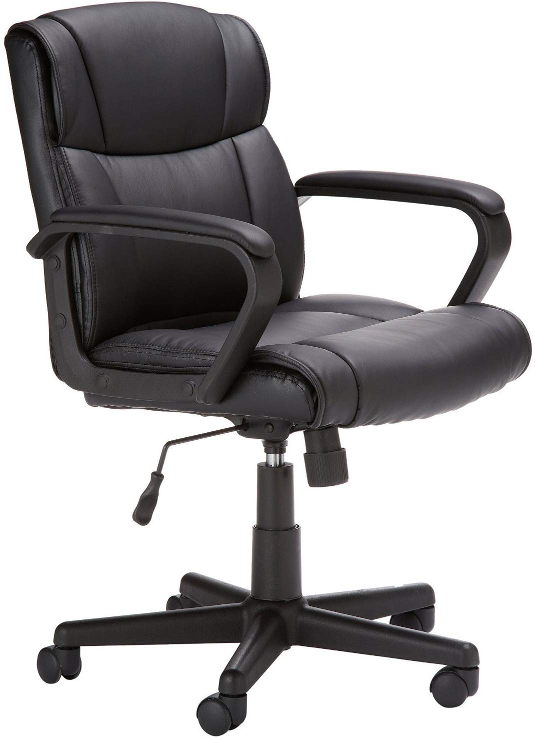 AmazonBasics Classic Leather-Padded Mid-Back Office Desk Chair with Armrest- Black