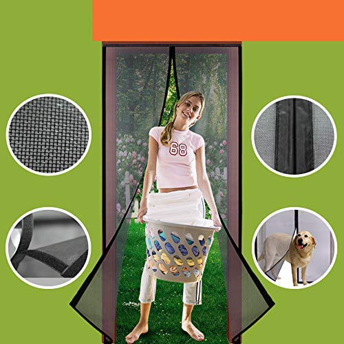 Homearda Magnetic Screen Door Fiberglass-New Upgraded Magnets & Strengthen Top Never Ripped-Durable Fiberglass Mesh Curtain with Weights in Bottom-Full Frame Magic Seal-Fits Door up to 36''x82.''