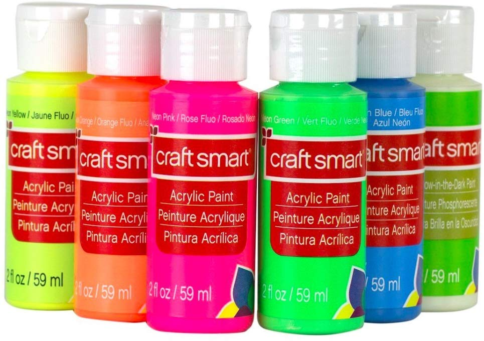 Neon Glow Acrylic Paint Value Set By Craft Smart, Set of 6, Acrylic Value Pack