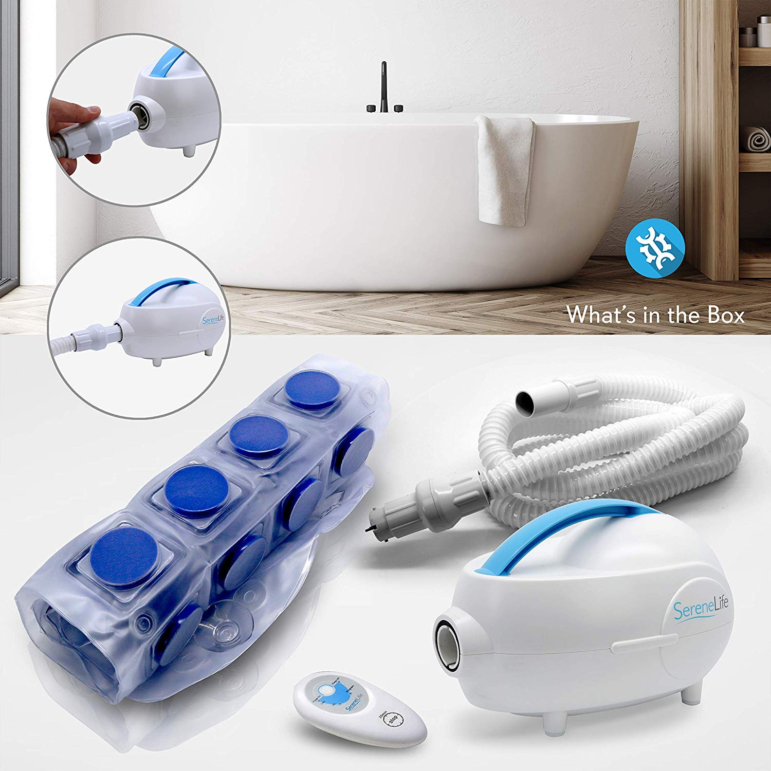 Portable spa bubble bath massager –thermal spa waterproof non-slip mat with suction cup bottom