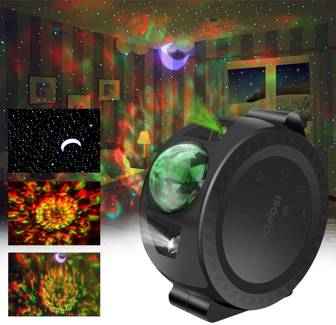 Donobi Star Light Projector for Kids, 3-1 Laser Projection Lamp Moon/Star/Cloud Touch&Voice Control Universe LED Lights,Sky Laser Projector for Bedrooms, Game Rooms, Home Theatre, Party(Black)