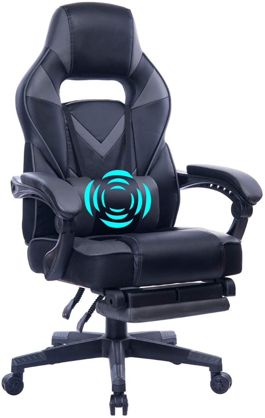HEALGEN Back Massage Gaming Chair with Footrest Office