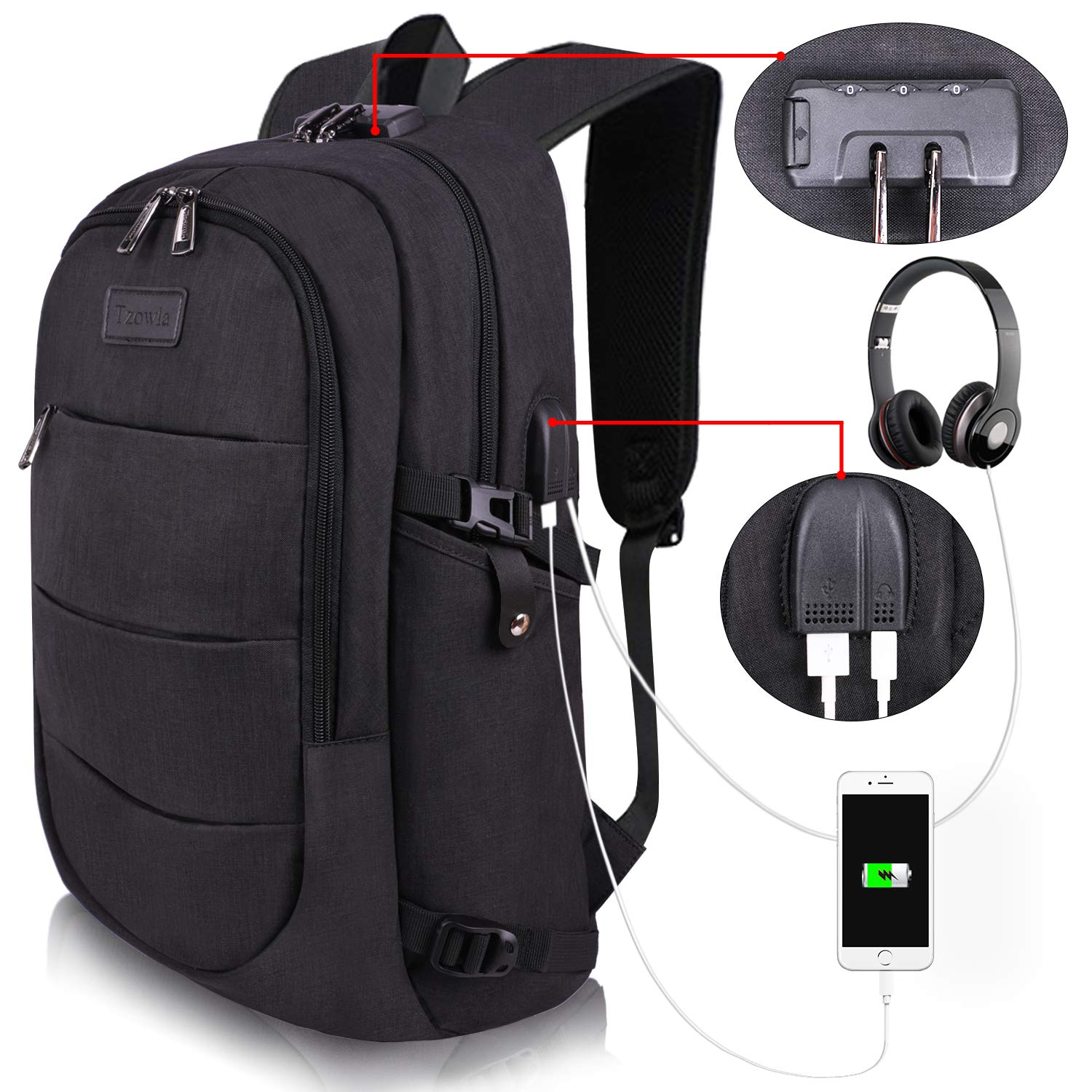 Travel laptop backpack water-resistant anti-theft bag with USB charging port and lock 14/15.6 inch computer business backpacks for women and men college school students' gift, book bag casual hiking daypack