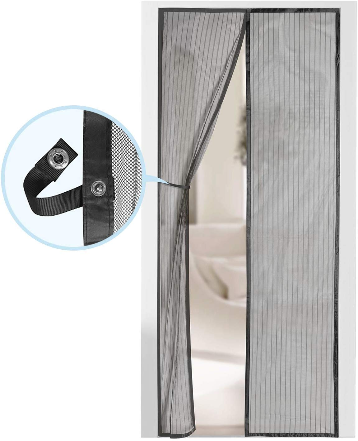 "Magnetic Screen Door - Self Sealing, Heavy Duty, Hands-Free Mesh Partition Keeps Bugs Out - Pet and Kid Friendly - Patent Pending Keep Open Feature - 38"" x 83"" - by Augo"