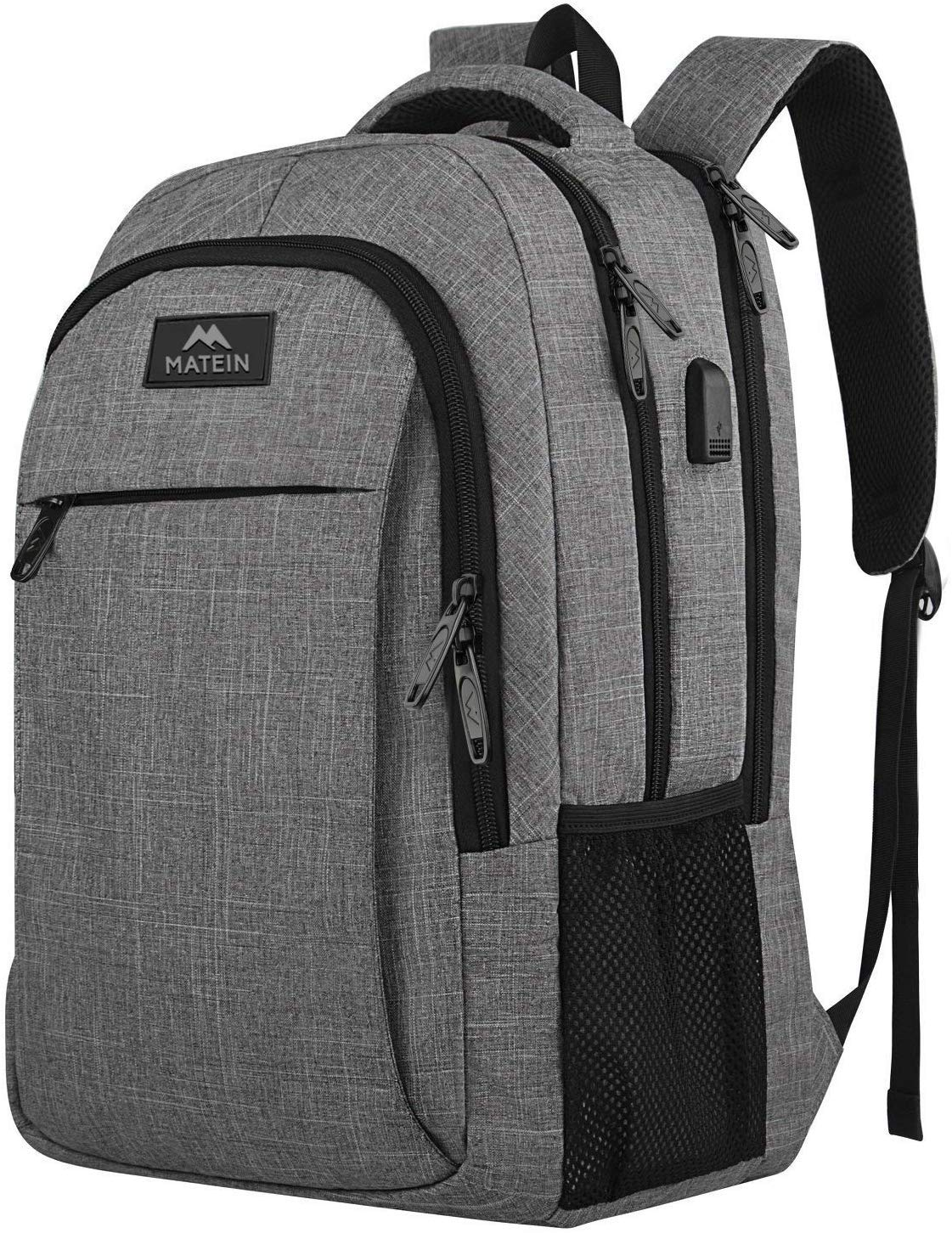 Travel laptop backpack, business anti-theft slim, durable laptops backpack with USB charging port, water-resistant college school computer bag gifts for women and men fits 15.6-inch notebook, grey