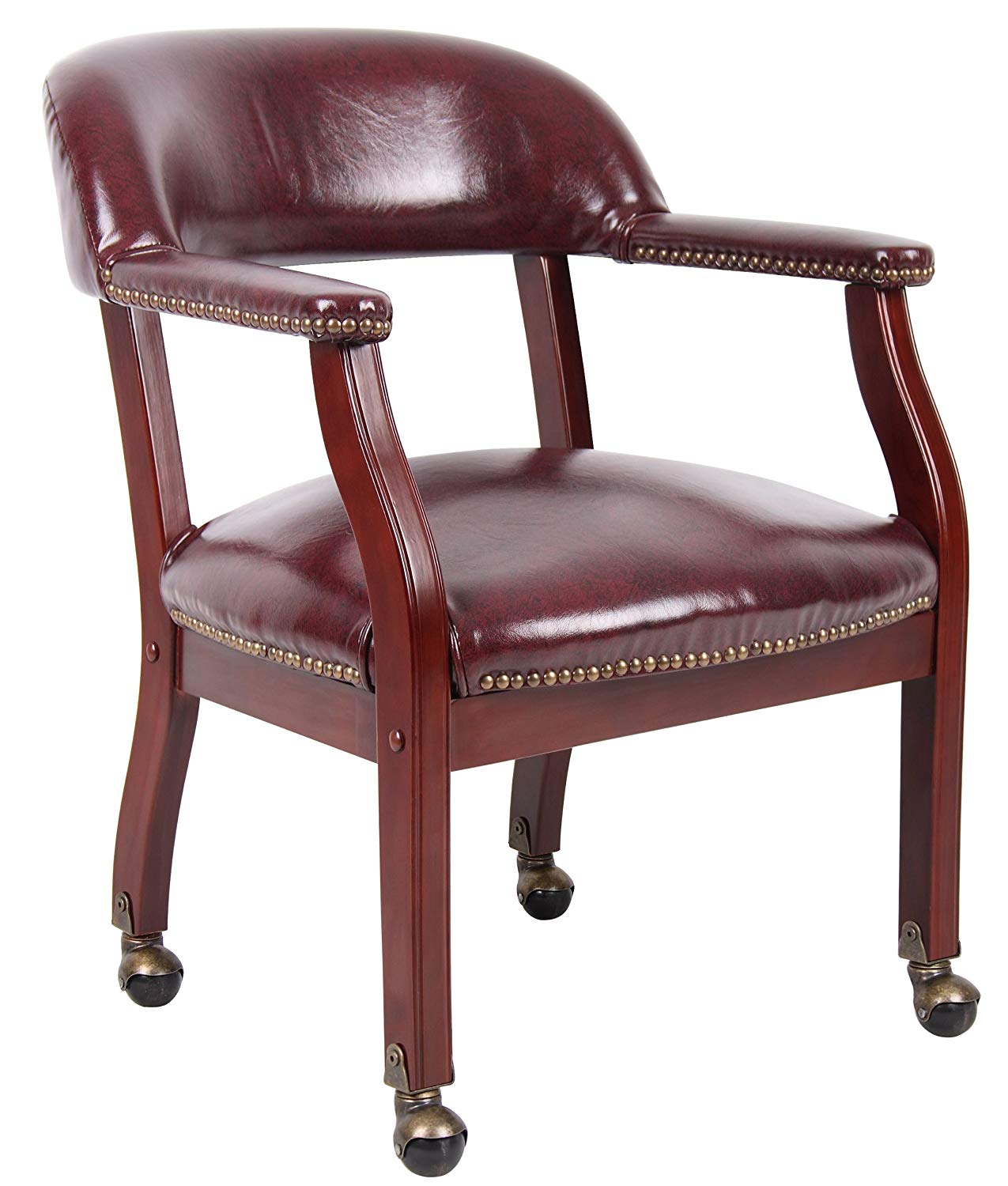 Boss Captain's Chair In Burgundy Vinyl W/ Casters | Captain Chairs
