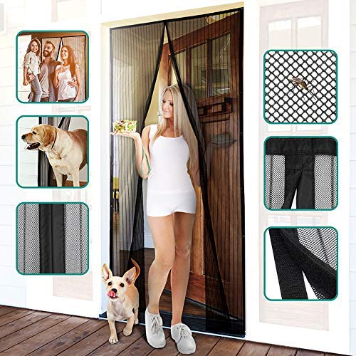 "Homitt Magnetic Screen Door with Heavy Duty Mesh Curtain and Full Frame Hook&Loop, Hands-Free, Pet and Kid Friendly, 39"" x 83"", Black"