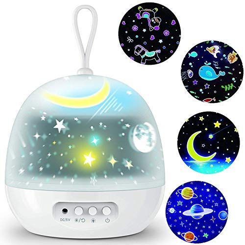 V-FANCY Star Projector Night Lights for Kids - 4 Set Films 360 Degree Rotating - Bedside Lamp with USB Cable, 4 LED Bulbs, 8 Color Changing - Best Gift for Kids, Party Decorations – White