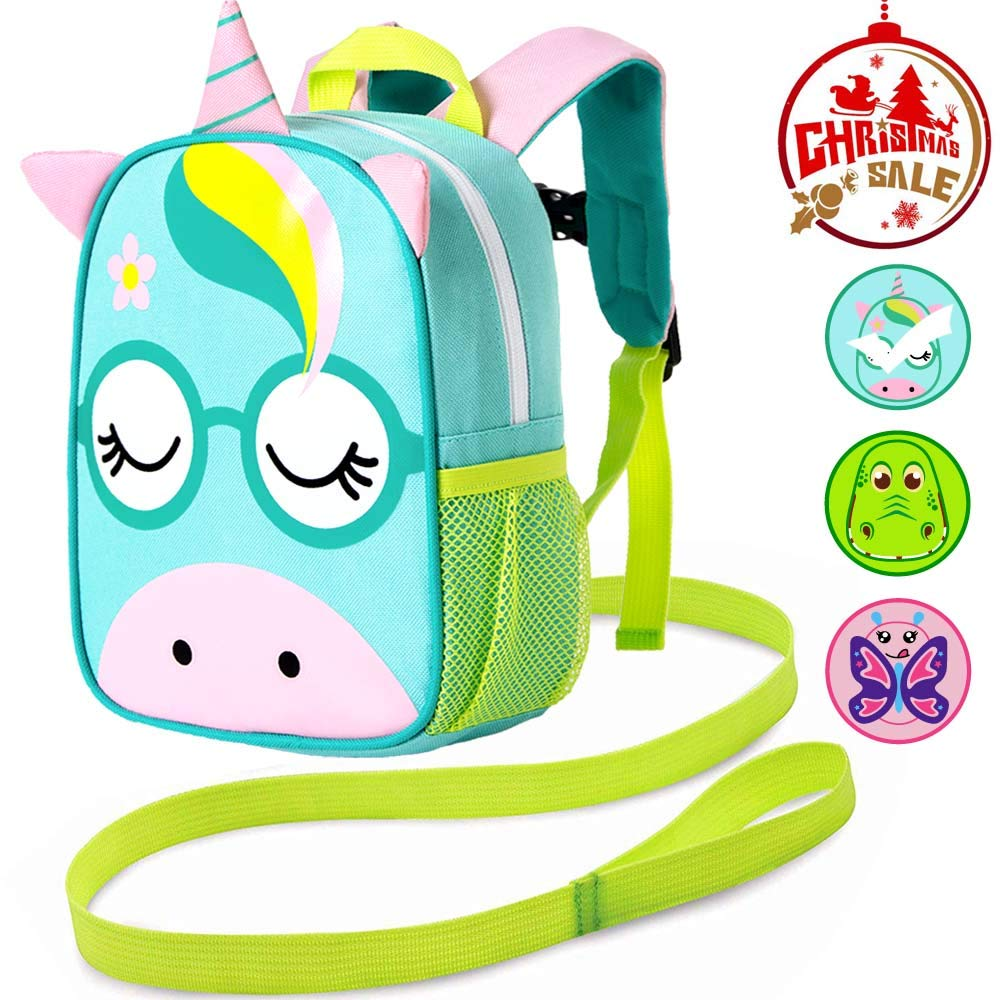 "Backpack Leash, 9.5"" Toddler Unicorn Bag - Harness Safety with Removable Tether"