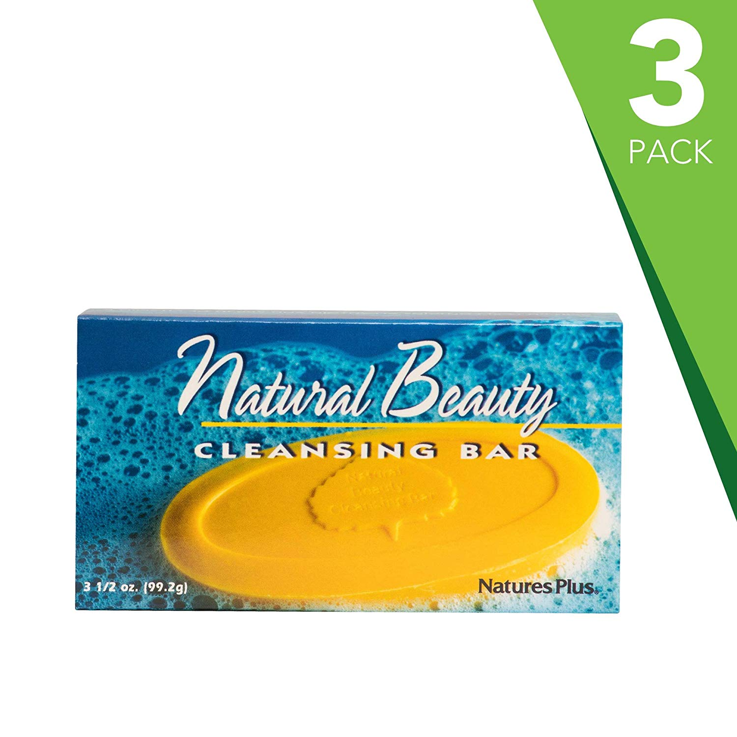 NaturesPlus Natural Beauty Cleansing Bar (3 Pack) - 500 iu Vitamin E with Allantoin, 3.5 Ounce Bar - Natural Cleanser, Made with Organic Ingredients, Anti-Aging- pH of 4.5 – Vegan