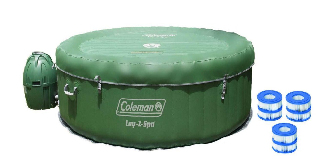 Coleman Lay-Z-Spa Inflatable 4-Person Hot Tub | 6 Person Inflatable Hot Tub