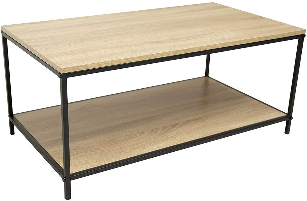 C-Hopetree Coffee Table with Low Storage Shelf for Living Room - Metal Frame
