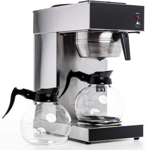 SYBO RUG2001 Commercial Grade Pourover Brewer Coffee Maker Machine with Kettle Warmer and 2 Glass Decanters, 12-Cup Capacity, Silver