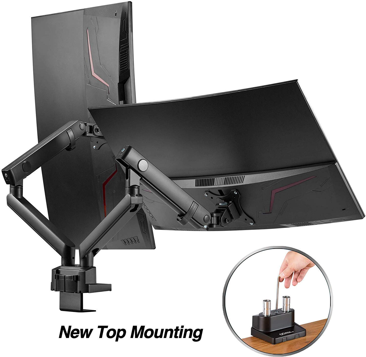 "AVLT-Power Dual 32"" Monitor Desk Stand - Easy Installation New Top Mounting - Mount Two 17.6 lbs Computer Monitors on 2 Full Motion Adjustable Arms - Organize Your Work Surface with VESA Monitor Mount"