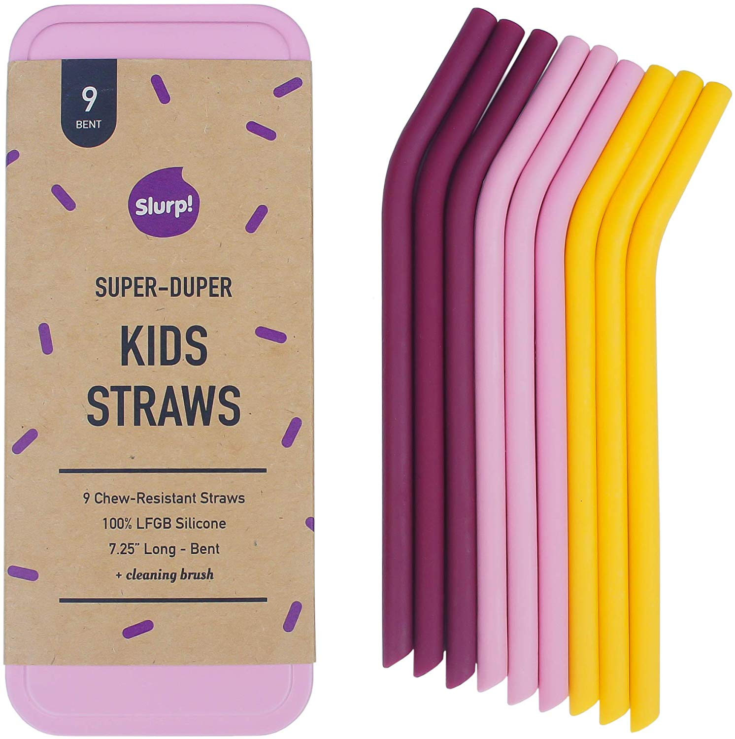 Kids Slurp Straw 9 Pack and Cleaning Brush w/Pink Case, 7.25in Bent Reusable Silicone Drinking Straws for Small Glasses and Cups - Eco-Friendly Food Grade Silicone (Pink)