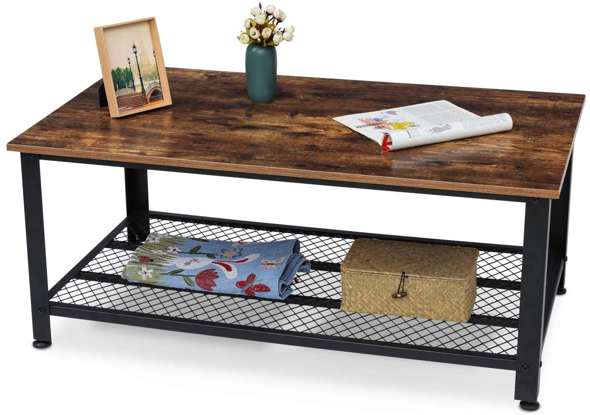 KingSo Industrial Coffee Table with Storage Shelf