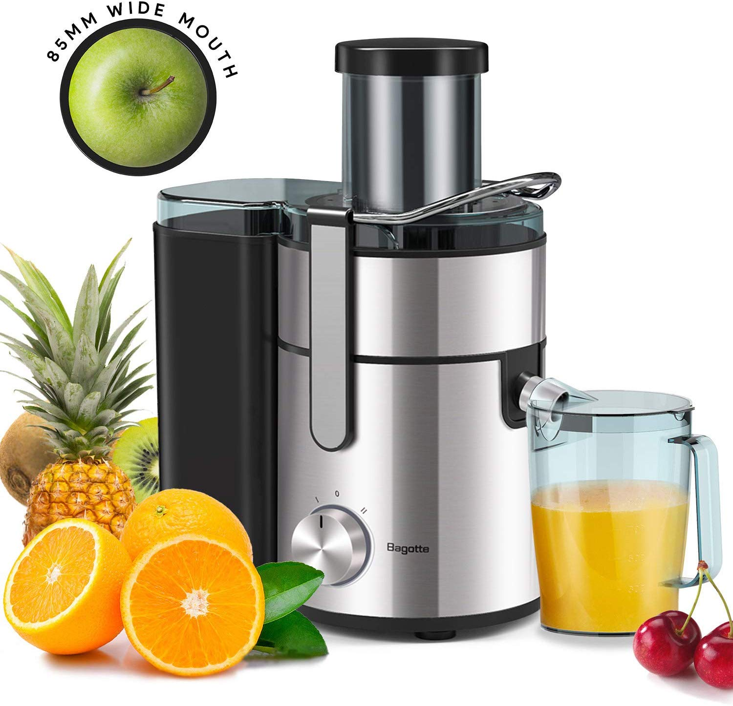 "Juicer, Bagotte Upgrade 1000W Juicer Machines, Easy Clean Juice Extractor 3.3"" Wide Mouth Centrifugal Juicer for Whole Fruit Vegetable, Juicer Recipe Book & Brush, Anti-drip, Dual-Speed, BPA-Free, Large"