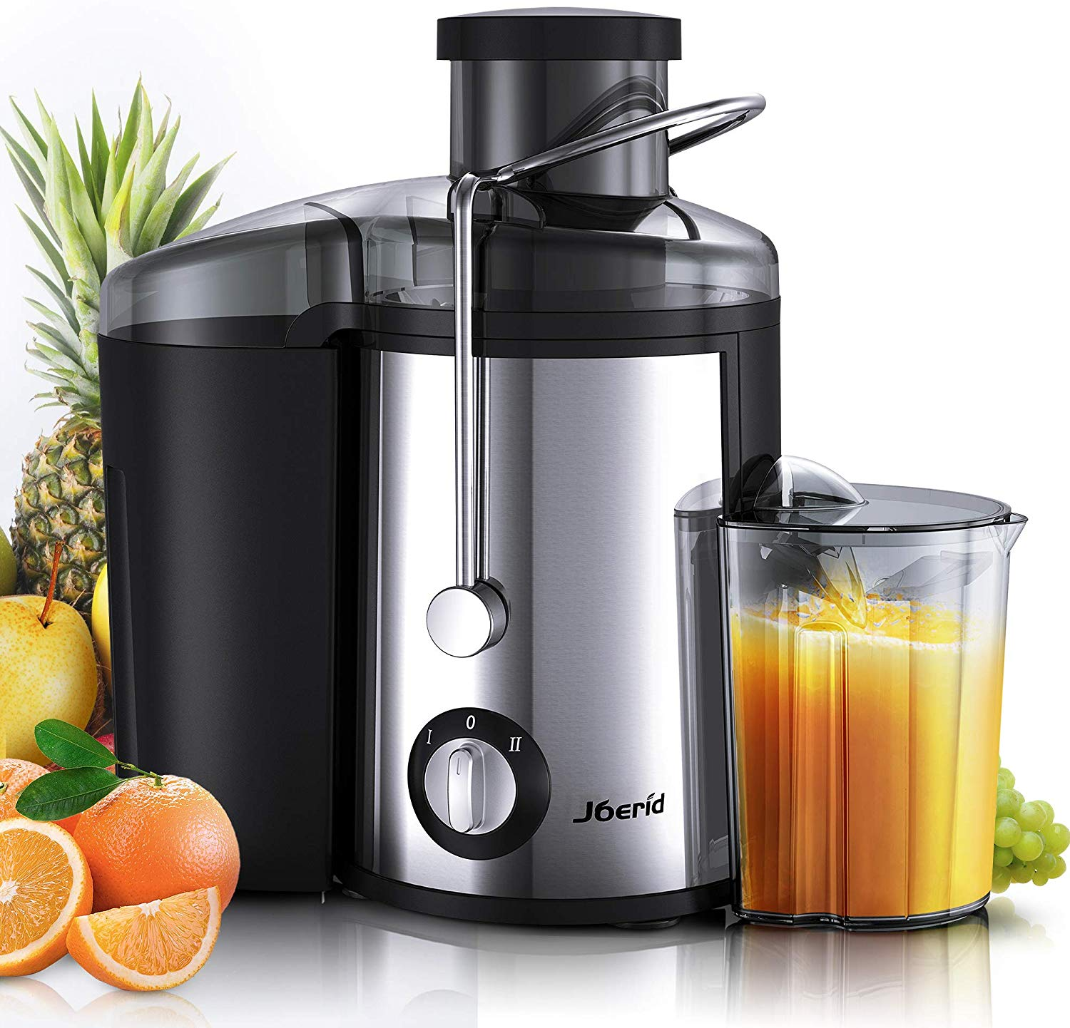 Joerid Juicer, [2020 Upgrade] Centrifugal Juicer Machine, Juice Extractor with Spout Adjustable, Lighter & Powerful, Easy to Clean & BPA-Free, Dishwasher Safe, Included Brush [Black]