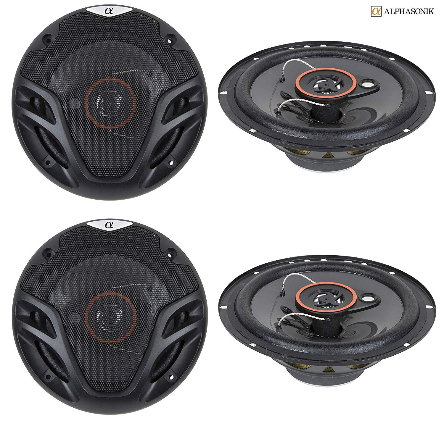 4 New (2 Pairs) Alphasonik AS26 6.5 inch 350 Watts Max 3-Way Car Audio Full Range Coaxial Speakers with Universal Mounting Holes for Easy Installation and Grills Included