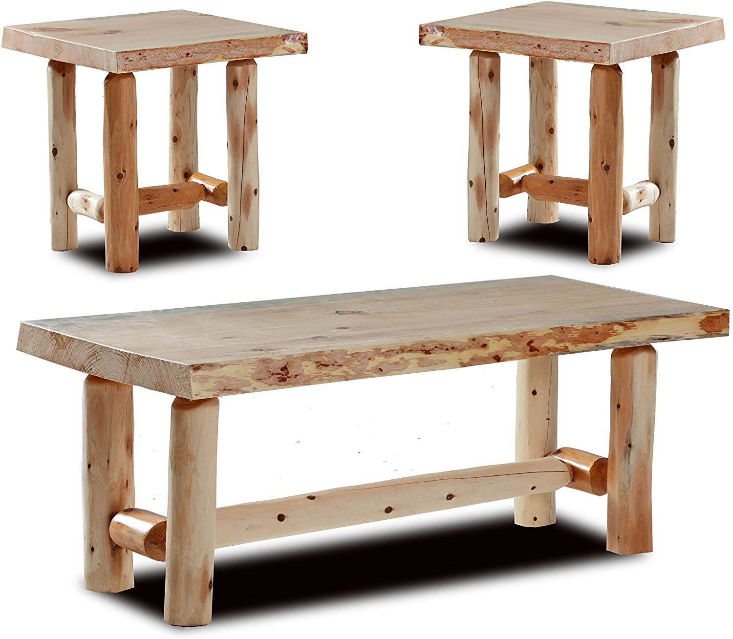 Rustic Log Coffee and End Table Set Pine and Cedar (Natural Clear)