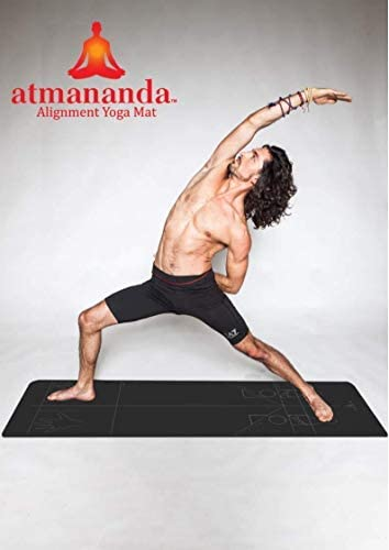 Atmananda Black Yoga Mat, Premium Natural Rubber Top, Educational Alignment Lines, Good for All Yoga Styles, Lightweight, Designed to Help Protect Your Joints