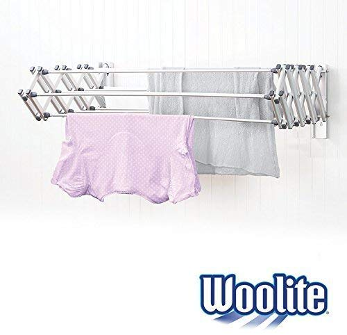 """Woolite Aluminum 36"""" Collapsible Wall Mounted Clothes Drying Rack"""