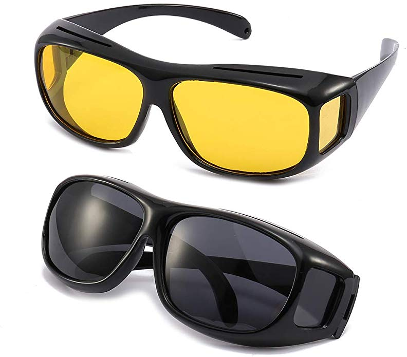 2PACKS UNISEX HD DAY &NIGHT VISION DRIVING UV400 SUNGLASSES FITOVER GLASSES AS SEEN TV ANTI GLARE
