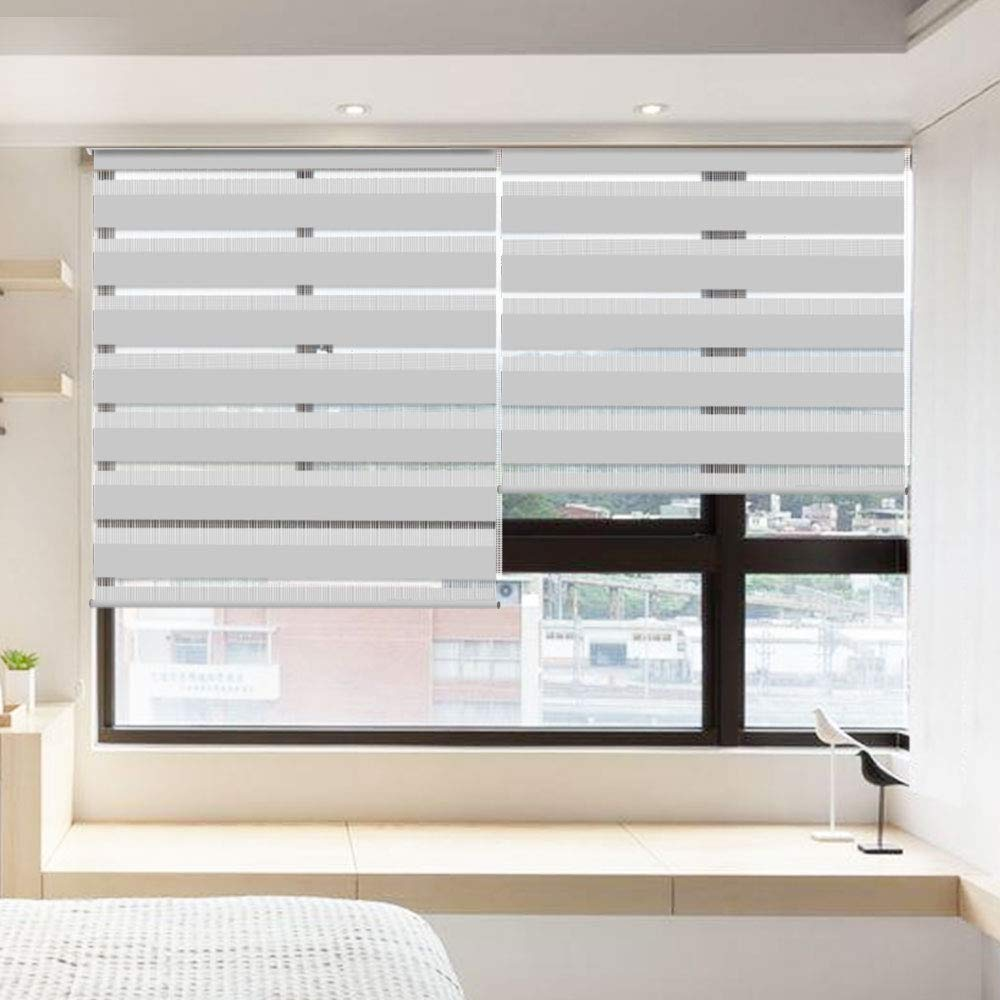 LUCKUP Horizontal Window Shade Blind Zebra Dual Roller Blinds
