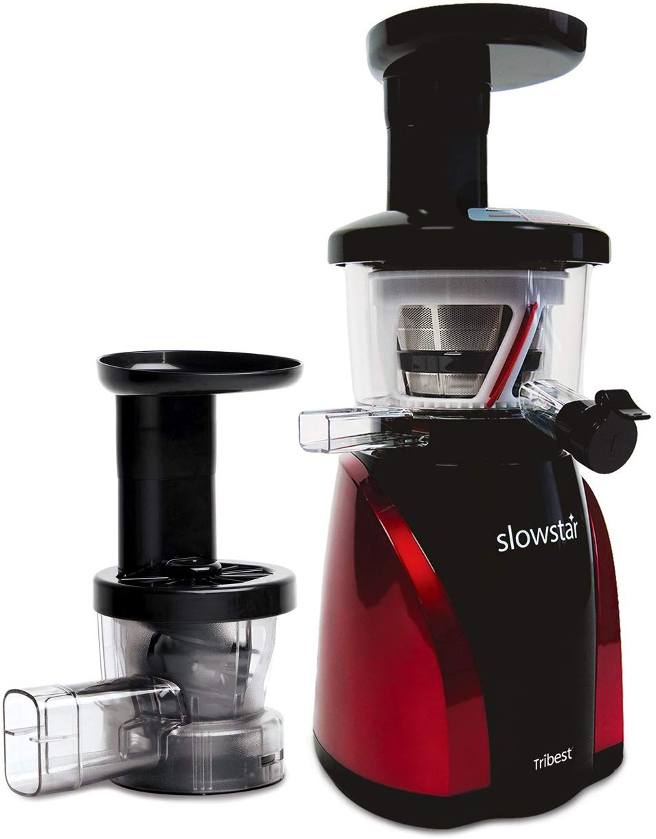 Tribest Slowstar Vertical Slow Juicer and Mincer SW-2000, Cold Press Masticating Juice Extractor in Red and Black