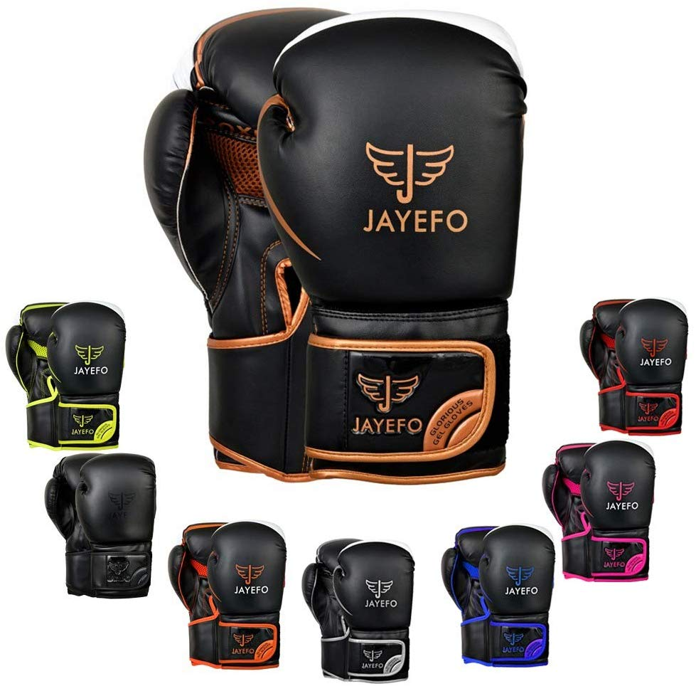 Jayefo Glorious Boxing Gloves Muay Thai Kick Boxing Leather Sparring Heavy Bag Workout MMA UFC Pro Leather Gloves Mitts Work for Men & Women