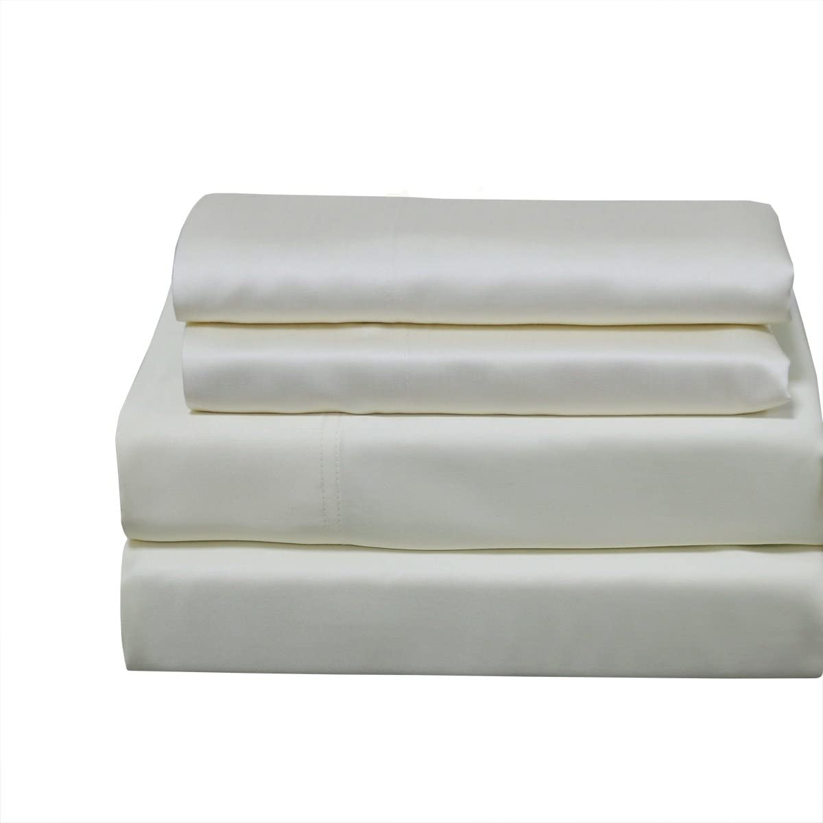 CinchFit USA Made & Maine Made - Cinches to Fit & Doesn't Pop Off! Home, Adjustable Beds - Luxury Bamboo 600TC Sheet Set (Ivory, Split Flex Top King)