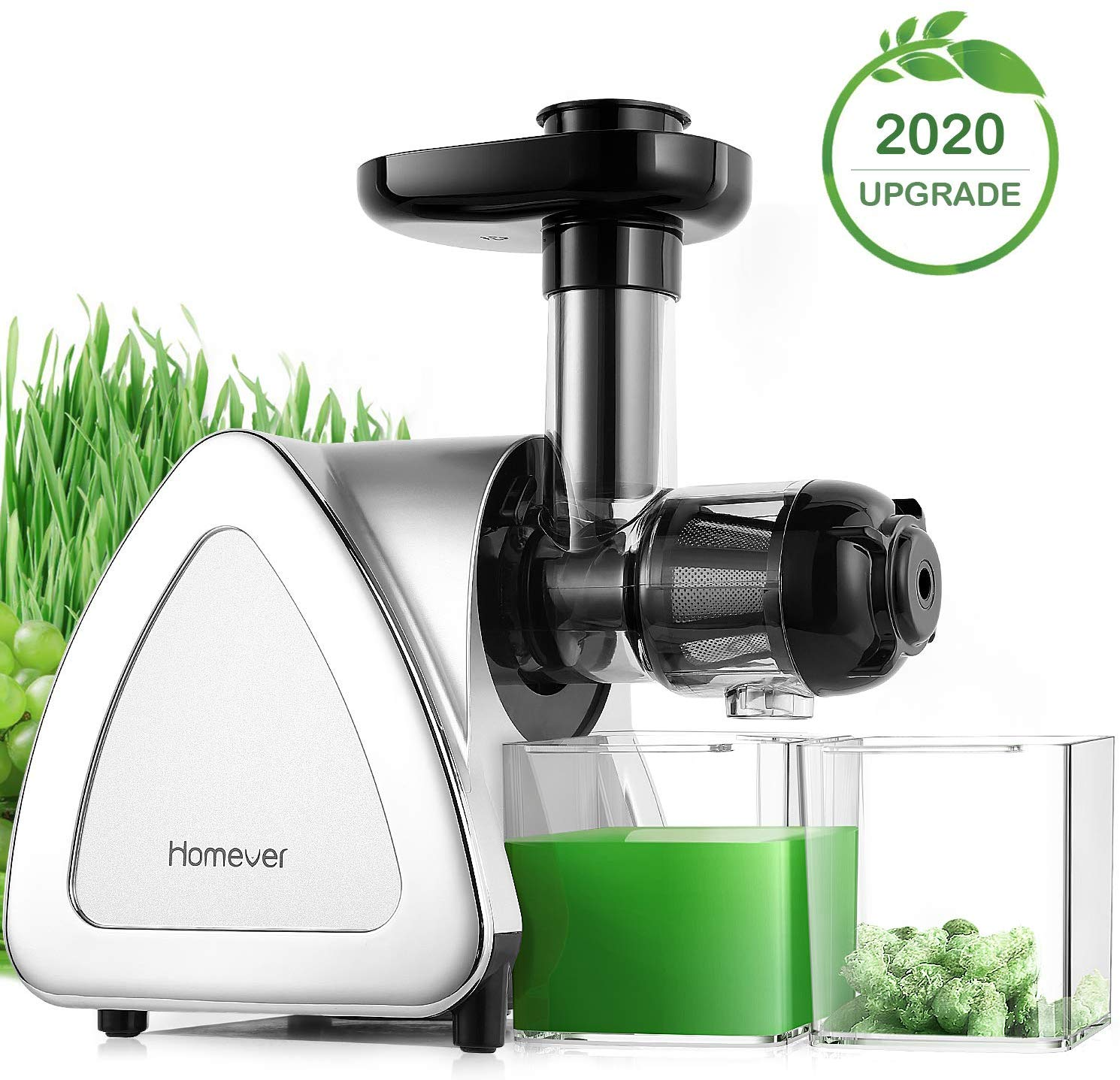 Juicer Machines, Homever Slow Masticating Juicer Extractor Easy to Clean, Cold Press Juicer for All Fruit and Vegetable, BPA-Free, Quiet Motor and Reverse Function with Juice Jug & Brush, Silver