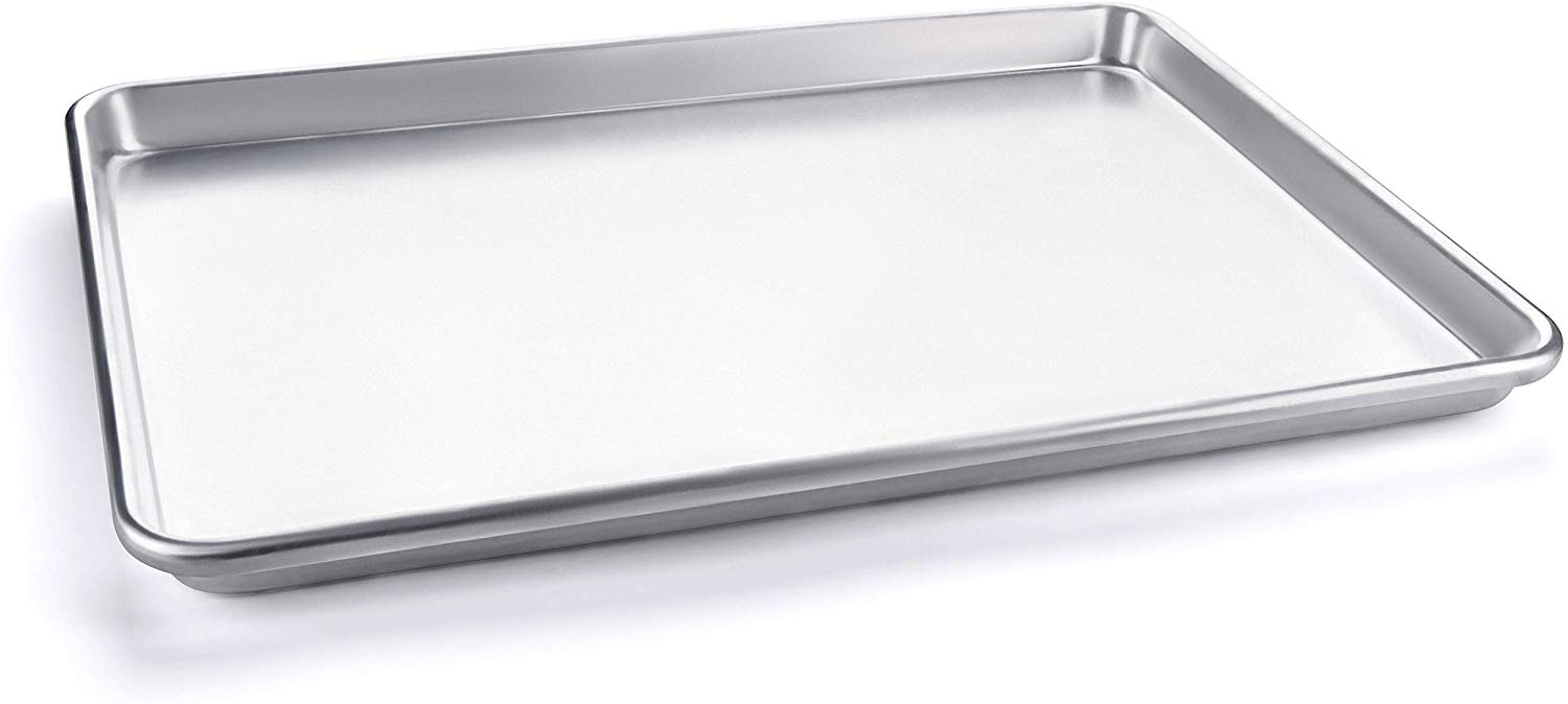 Half Sheet Baking Pan, Vegetables, and Cakes, Commercial Quality Aluminum Steel Cookie Pan Tray, 18 x 13 x 1 Inch Heavy duty, won't warp. Great for Roasting and baking