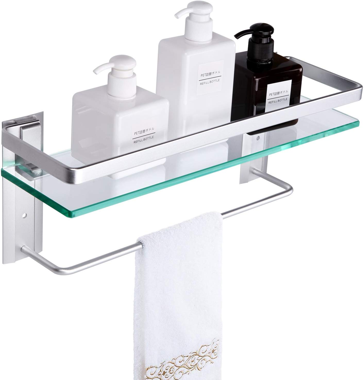 Vdomus Tempered Glass Bathroom Shelf with Towel Bar