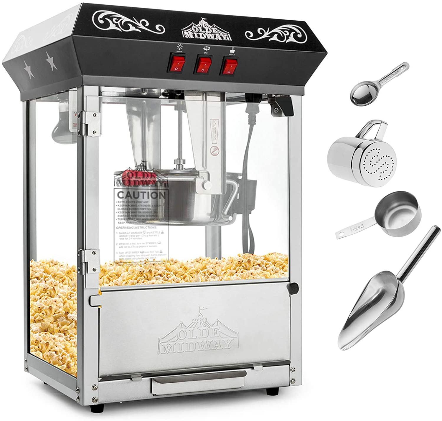 4. OLDE Midway Bar Style Popcorn Maker| Home Popcorn Machines
