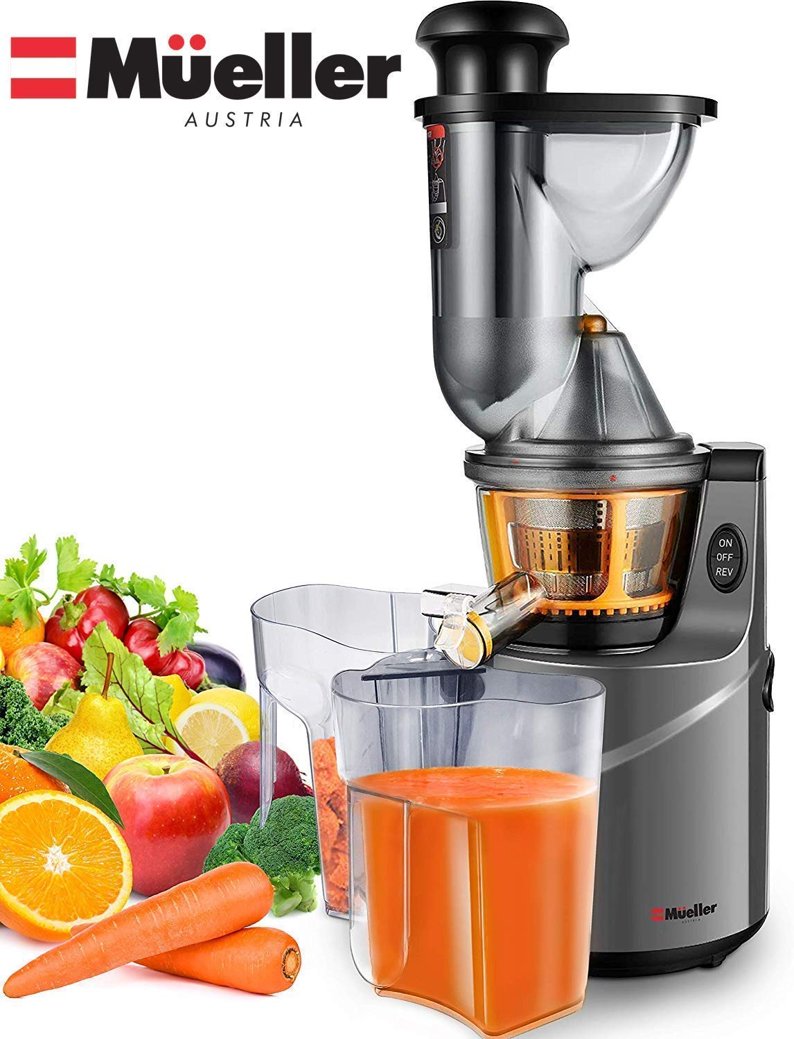 Mueller Austria Ultra Juicer Machine Extractor with Slow Cold Press Masticating Squeezer Mechanism Technology, 3-inch Chute accepts Whole Fruits and Vegetables, Easy Clean, Large