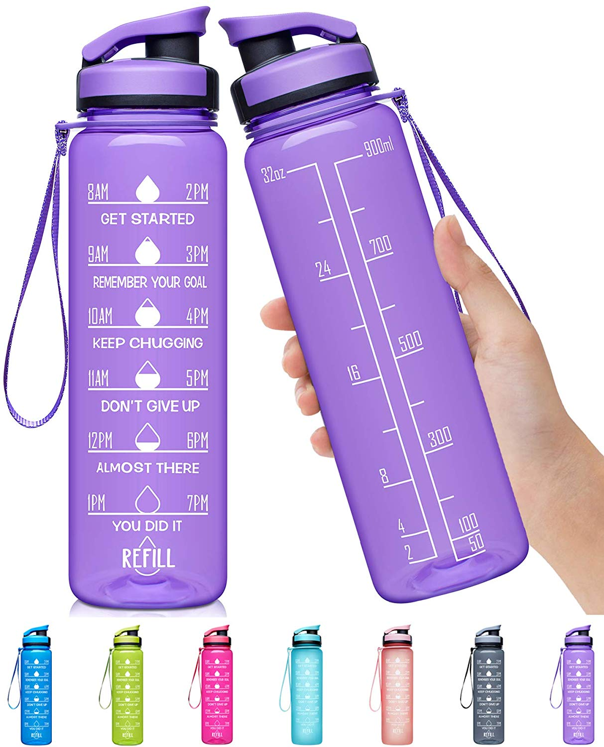 Elvira 32oz Large Water Bottle with Motivational Time Marker | Cheap Water Bottles