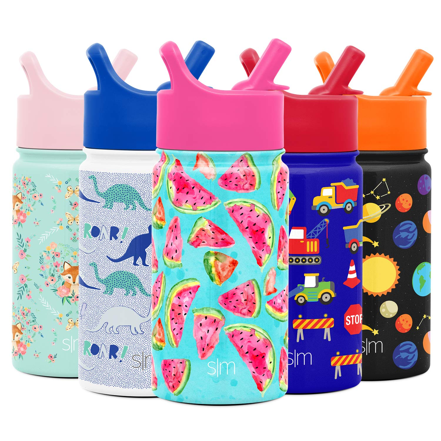 Simple Modern 14oz Summit Kids Water Bottle Thermos with Straw Lid - Dishwasher Safe Vacuum Insulated Double Wall Tumbler Travel Cup 18/8 Stainless Steel -Watermelon Splash