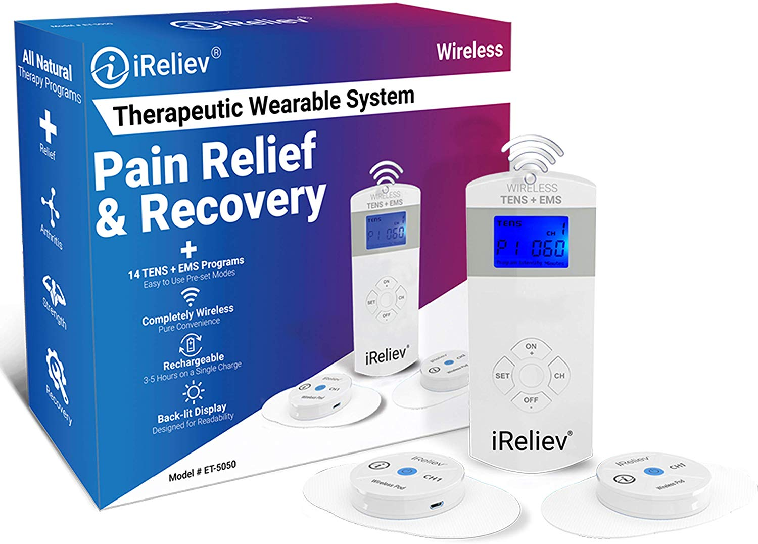 iReliev Wireless Therapeutic Wearable TENS + EMS Unit | Back Massagers