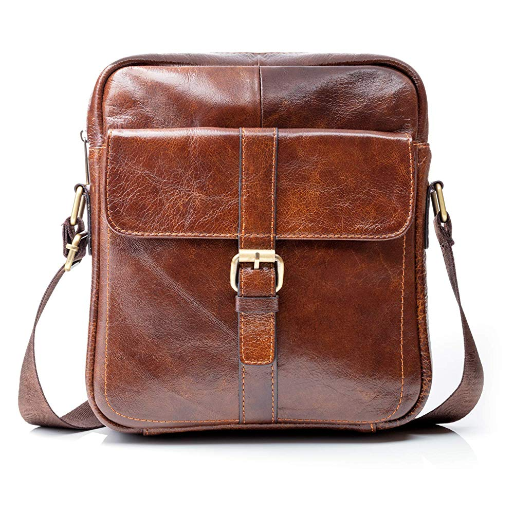 Premium Leather Crossbody Bags for Men | Brown Leather Shoulder Bags