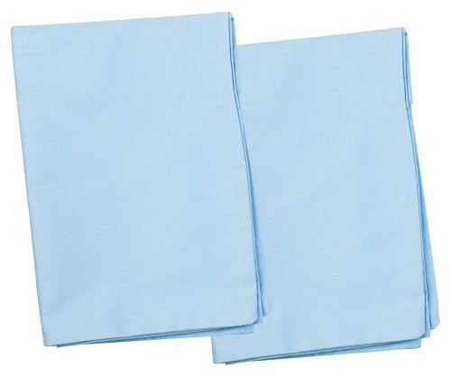 2 Blue Toddler Pillowcases - Envelope Style - for Pillows Sized 13x18 and 14x19-100% Cotton with Soft Sateen Weave - Machine Washable