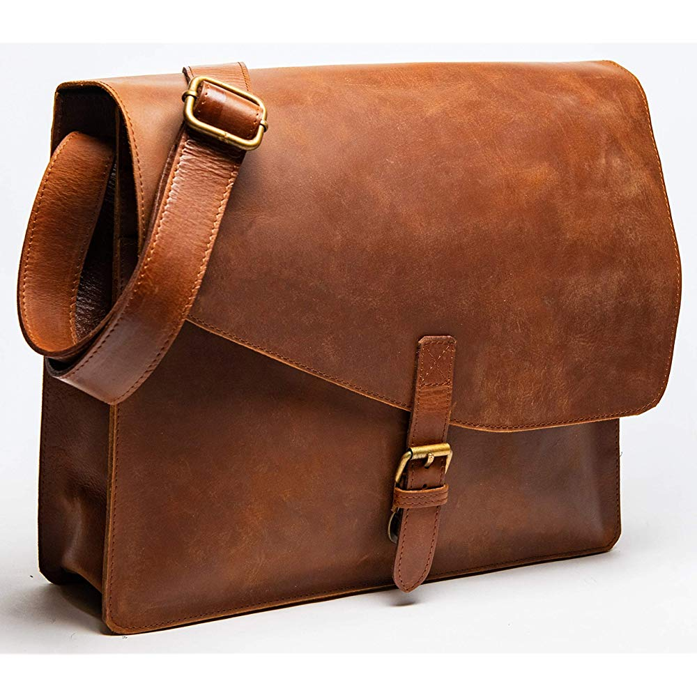 HIDES Full Grain Leather Laptop Messenger Bag Shoulder | Brown Leather Shoulder Bags