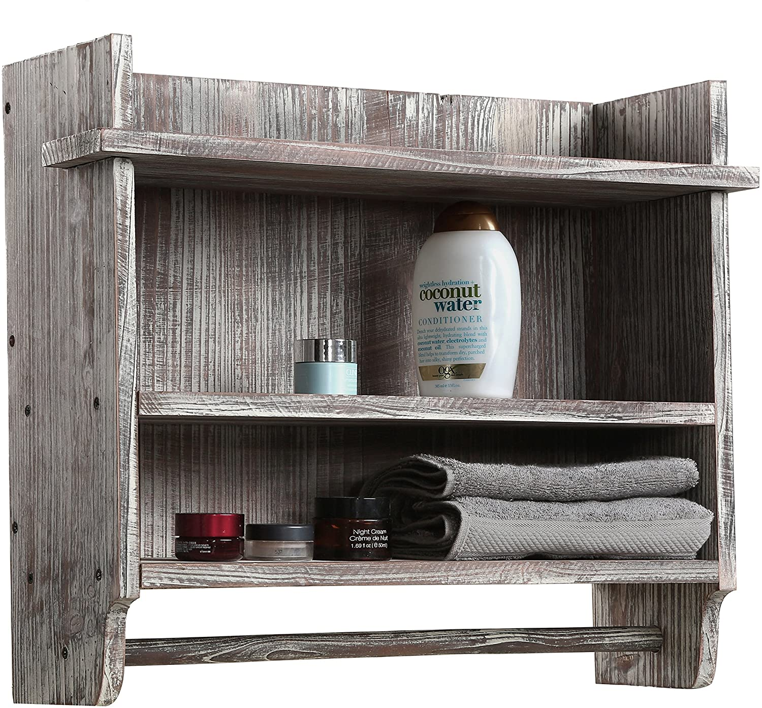 MyGift Wall-Mounted Torched Wood Bathroom shelf