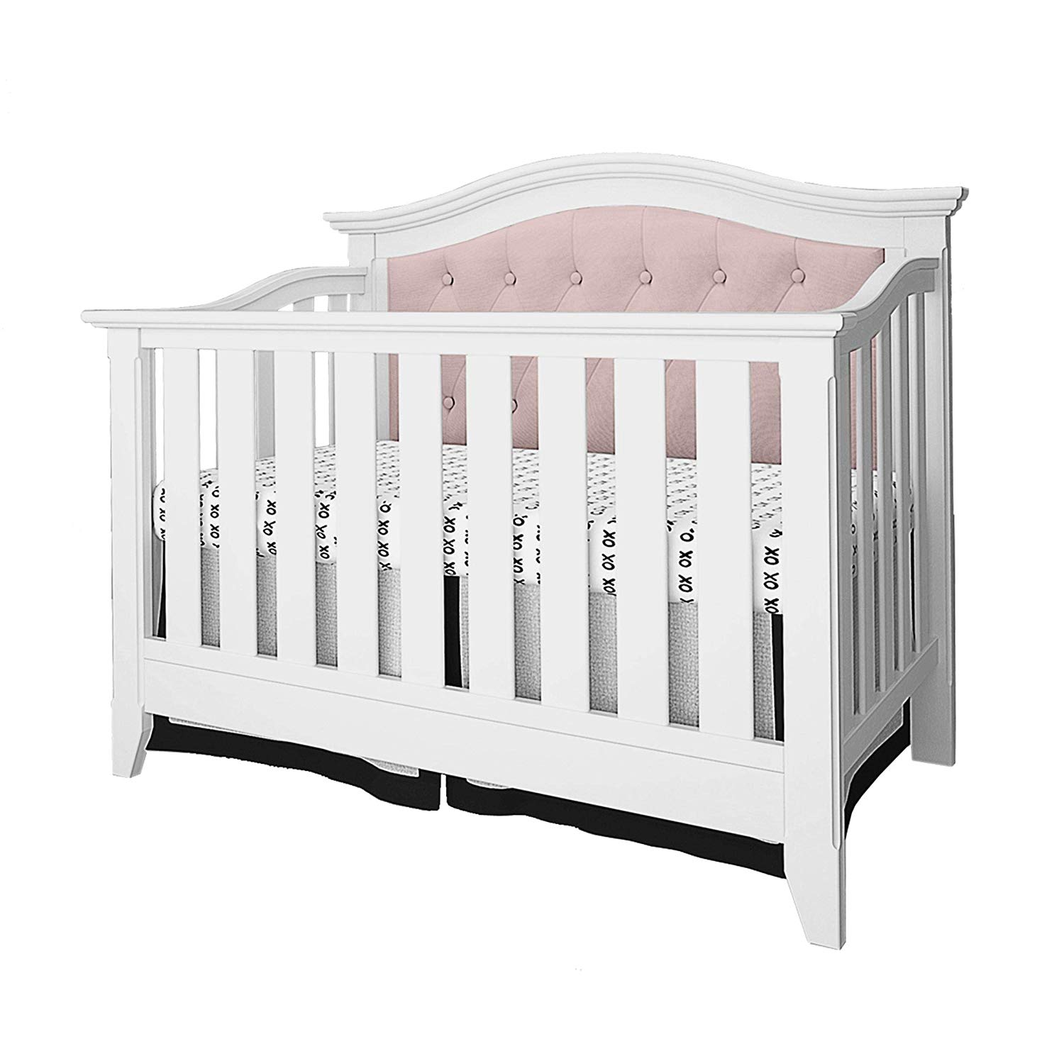 Belle Isle Furniture Magnolia Upholstered 4-in-1 Convertible Crib White/Pink Linen