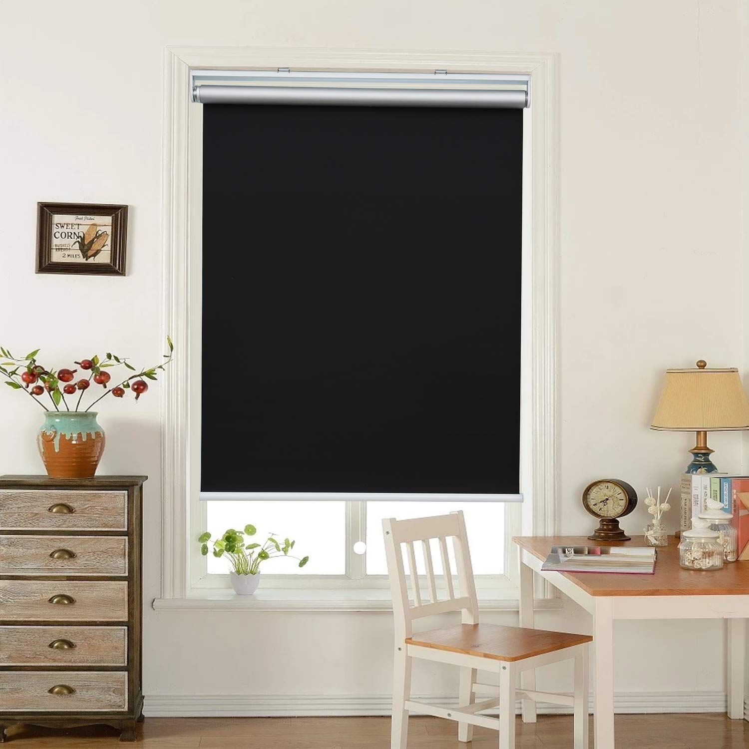 "HOMEDEMO Window Blinds and Shades Blackout Roller Shades Cordless and Room Darkening Blinds Black 27"" W x 72"" H for Windows, Bedroom, Home"