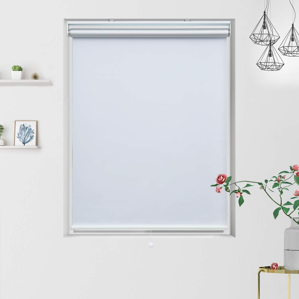 "Grandekor Blackout Shades Blackout Blinds Cordless Shade Roller Shades for Windows, Window Blackout Shades Roller Blinds Blackout with Spring System White, 36""(W) x 72""(H)"