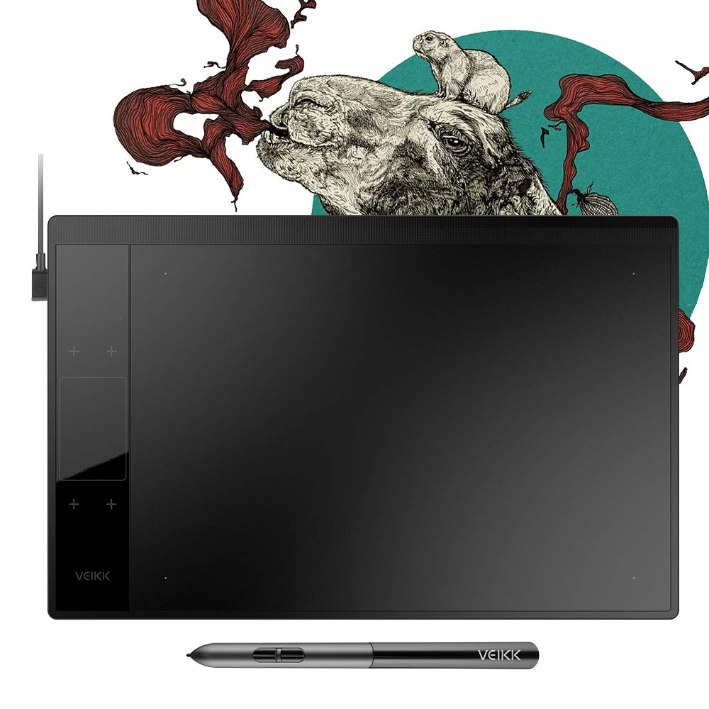 "VEIKK A30 Graphics Drawing Tablet with 8192 Levels Battery-Free Pen - 10"" x 6"" Active Area 4 Touch Keys and a TouchPad"