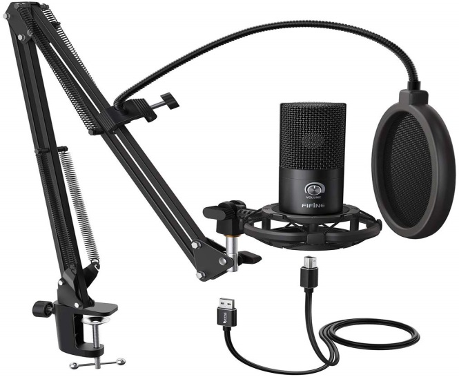 FIFINE USB Microphone Kit, plug & Play on Windows & Mac for streaming